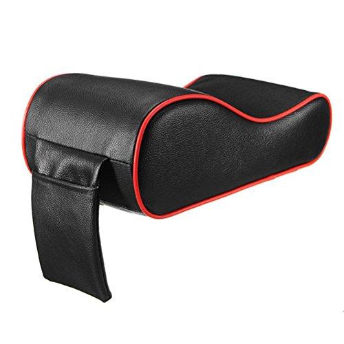 WINOMO Auto-Center-Konsole Kissen Universal weiches Leder Auto Armlehne Pad Rest Pillow Mat (schwarze und rote Kante)